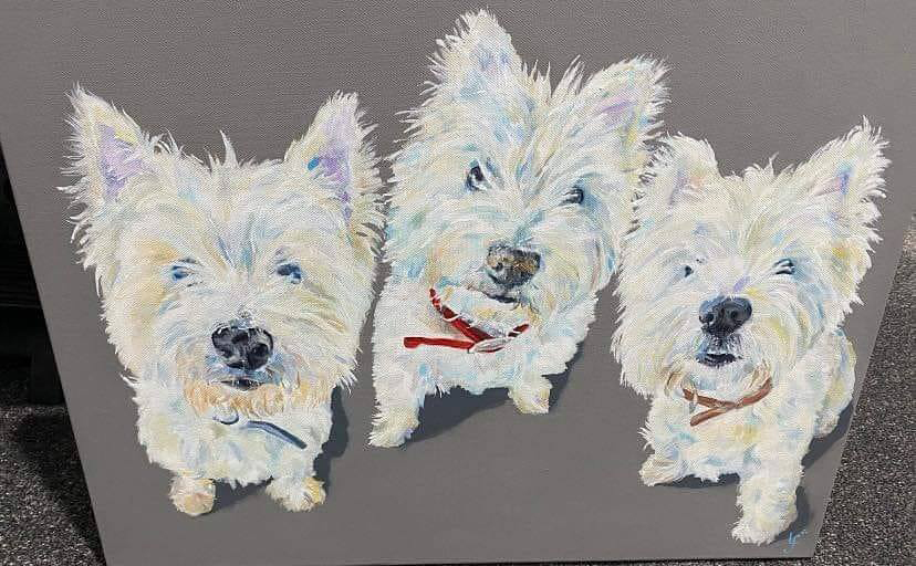 a modern painting of 3 dogs