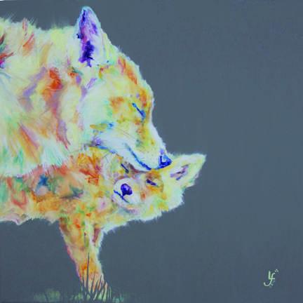 Love you mum fox and cub print