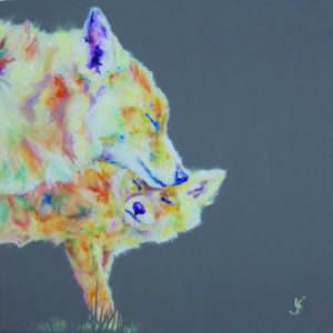 Mum & fox cub painting