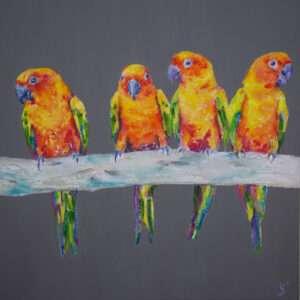 Parrots painting