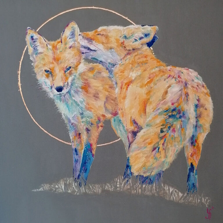 2 painted colourful foxes